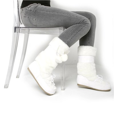 Cold Weather Couture: Pom Pom Furry Snow Boot at ASOS