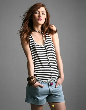 Diab'less | Diabless Stripy Racer Back Tank With Beads at ASOS :  fashion designer diabless tank top