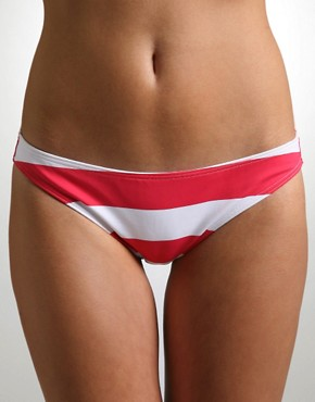 ASOS | ASOS Stripe Bikini Pants at ASOS :  fashion hot pink and white bikini bottoms swimsuit