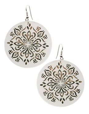 ASOS | Shell Disc Earrings With Metal Flower Detail at ASOS :  fashion accessory design fashion accessories jewelry