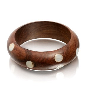 ASOS | Wooden Bangle With Shell Spots at ASOS :  bangle wooden asos bracelet