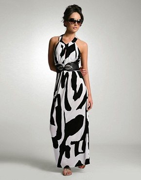 Nicole Richie | ASOS Graphic Print Keyhole Maxi Dress at ASOS
