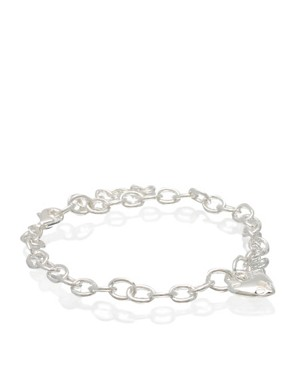 ASOS | ASOS Sterling Silver Heart Padlock Bracelet at ASOS :  asos bracelet at silver