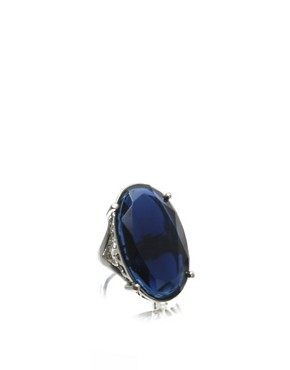 ASOS | ASOS Large Cut Glass Oval Blue Stone Ring at ASOS :  blue cut stone at