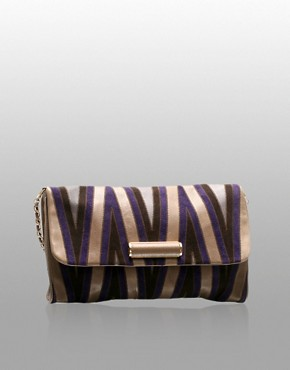 Modalu | Modalu Suede And Leather Chevron Effect Clutch Bag at ASOS :  modalu gold clutch ribbon