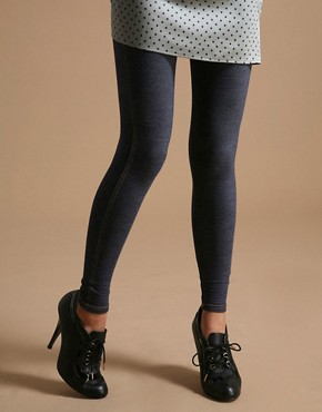 Happie Loves It | Happie Loves It Contrast Stitch Denim Look Leggings at ASOS :  happie look denim loves
