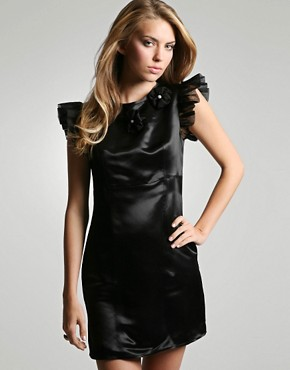 Tofu | Tofu Silk Organza Diamante Rosette Shift Dress at ASOS :  shift black organza womens