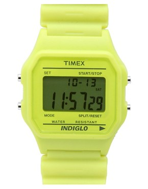Timex | Timex 80 Lime Green Rubber Watch at ASOS :  asos stopwatch accessories timex