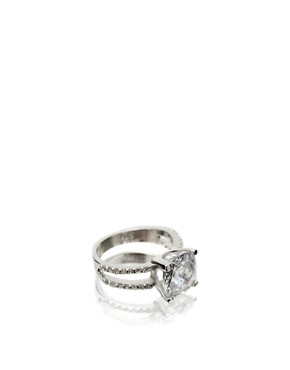 ASOS | ASOS Two Row Sterling Silver Single Stone Ring at ASOS :  asos single stone two