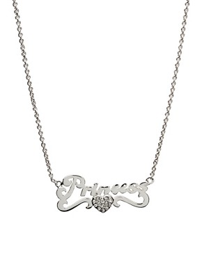 Disney Couture | Disney Couture Sterling Silver Plate 'Princess' Necklace at ASOS
