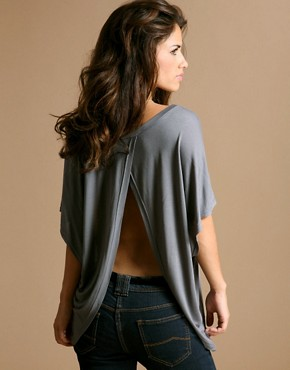 Open Back Slouchy Top at ASOS :  top jersey clothing gray
