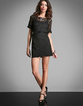 By Berman | By Berman Low Back Lace Shift Dress With Bell Sleeve at ASOS :  dress low shift back