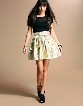 Motel | Motel Metallic Bow Waist Full Mini Skirt at ASOS :  motel metallic full waist