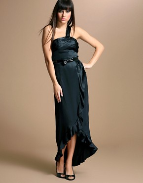 Fashion Enter | Simon Wang Silk One Shoulder Ruffle Maxi Dress at ASOS from asos.com