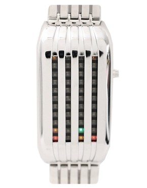 Tokyo Flash | Tokyo Flash Silver 'Barcode' Watch at ASOS :  futuristic led display accessories barcode