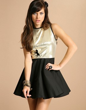 The Laden Showroom | Jones & Jones Mini Metallic Skater Dress at ASOS :  mini the laden skater