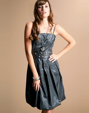 Ichi | Ichi Wet Look Satin Studded Belt Prom Dress at ASOS :  belt dress satin ichi