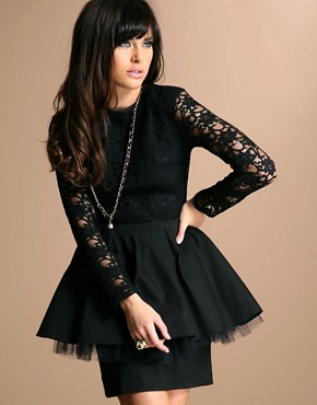 The Laden Showroom | Jones & Jones Peplum Dress with Black Lace Bodice at ASOS :  with dress the laden