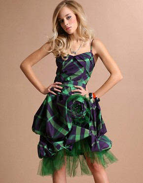 Unique Boutique | Unique Boutique Oversized Corsage Tartan Party Dress at ASOS