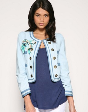 Ringspun | Ringspun Ribbon Trimmed Contrast Tipped Chambray Jacket at ASOS :  8500 girls outerwear blue jackey womens clothing