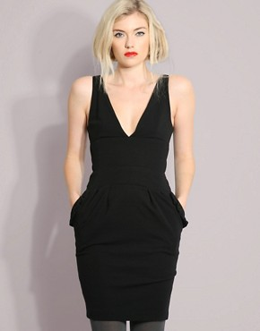 Berman Black | Berman Black Frill Pocket Cocktail Dress  :  black dress 10500 sexy clubwear sexy dress