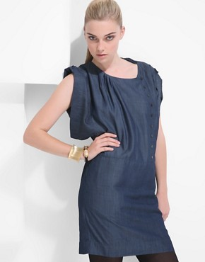 Designers Remix Tencel Chambray Denim Dress With Asymmetric Poppers