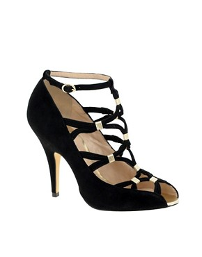 Reiss | Reiss Kaley Metal Trim Sandal at ASOS :  black heels platform heels womens shoes strappy heels