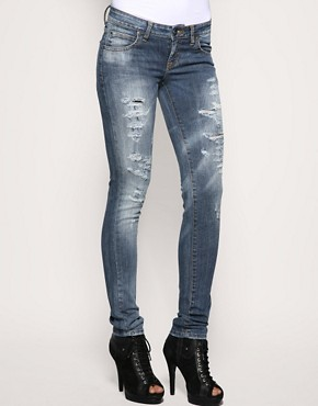  Dr Denim Ripped Jamie Skinny Jeans :  pants blue jeans bottoms asos