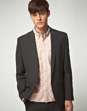 ASOS Slim Fit Charcoal Pindot Jacket