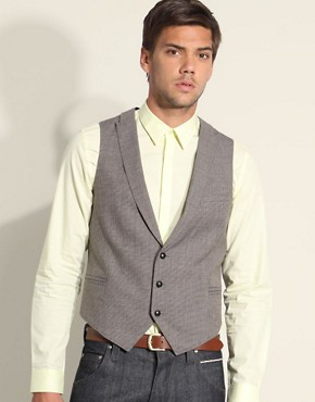ASOS Tailoring Tweed Check Peak Lapel Waistcoat