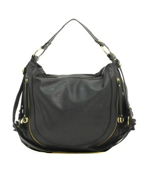 ASOS | ASOS Side Zip Slouch Bag at ASOS :  faux leather handbag black handbag shoulder handbag 3000