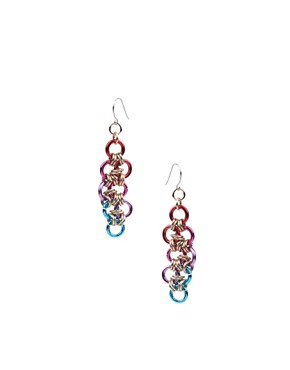 Kitson | Kitson Rainbow Anodized Jumping Linked Drop Earrings at ASOS