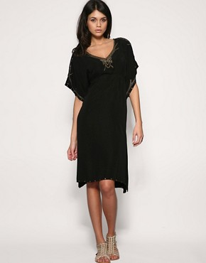 Pepe | Pepe Jeans Studded Smock Dress at ASOS :  black dress fluter sleeve dress mini dress womens clothing