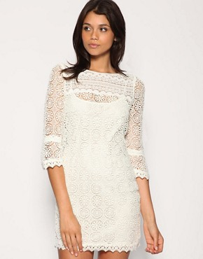 Warehouse | Warehouse Lace Overlay Shift Dress at ASOS