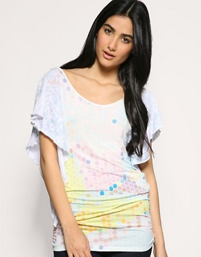 Ringspun | Ringspun Pixel Print Flutter Sleeve Top at ASOS :  club wear womens clothing casual top sexy top