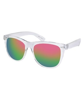ASOS Clear Frame Mirrored Retro Sunglasses