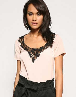 ASOS | ASOS Contrast Lace Insert Blouse at ASOS