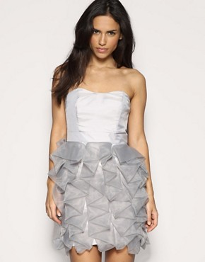 ASOS | ASOS Premium Organza Ruffle Hem Bandeau Dress at ASOS from asos.com