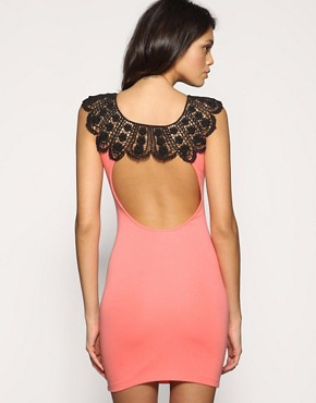 ASOS | ASOS Lace Neck Open Back Body Con Dress at ASOS :  salmon lace neck asos dress