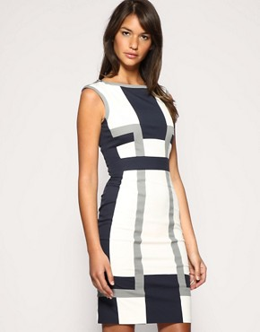 Karen Millen | Karen Millen Graphic Colour Block Dress at ASOS :  16500 tunic dress mini dress sexy clubwear