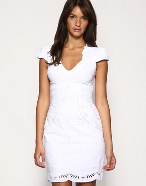 Karen Millen | Karen Millen Cutwork and Embroidery Dress at ASOS :  16500 sexy clubwear white dress v neck dress
