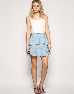 1971 Reiss | 1971 Reiss Tammy Tiered Frill Skirt at ASOS :  girls skirt mini skirt sexy skirt blue skirt