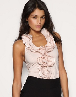 TFNC Frill Front Halter Top at ASOS :  halter top pink ruffle fashion