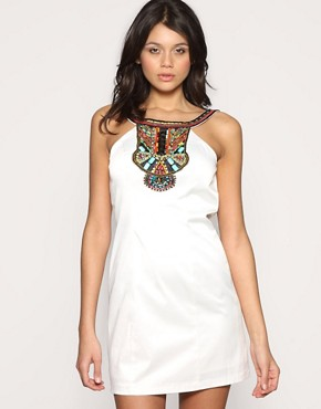 Forever Unique Cut Out Neck Tribal Bead Dress :  scoop back cutout white style