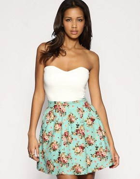 Rare | Rare Floral Contrast Two-In-One Bandeau Dress at ASOS