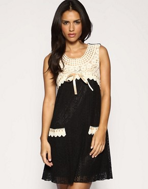 Yumi | Yumi Contrast Crochet Mini Dress at ASOS
