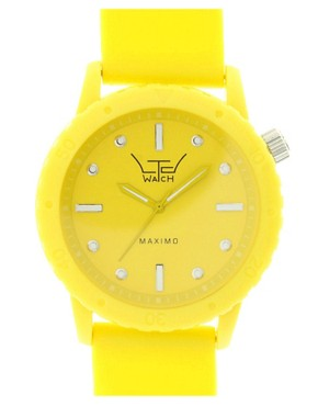 LTD Oversized Yellow Rubber Strap Watch