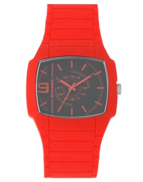 Diesel Red Silicon Strap Watch