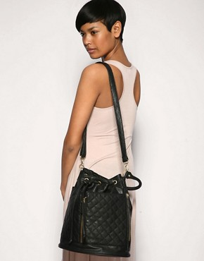 Pieces | Pieces Quilted Barrel Bag at ASOS :  over the shoulder zipper womens accessories