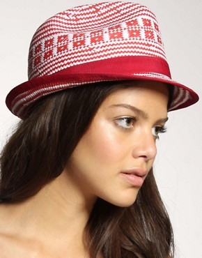 ASOS | ASOS Coloured Aztec Straw Trilby at ASOS :  straw hat straw trilby hat